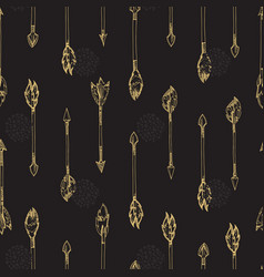 Gold arrows seamless pattern - doodle arrows vector