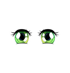 green bright eyes beautiful eyes with light vector image