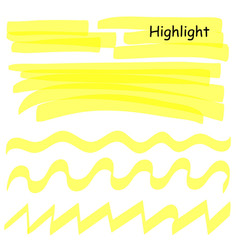 hand drawn highlight marker lines set highlighter vector image