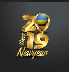 Happy new year 2019 golden typography with rwanda vector