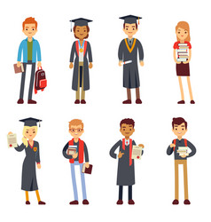 Happy students and graduates young learning people vector