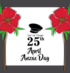 Hat soldier remembrance to anzac day vector