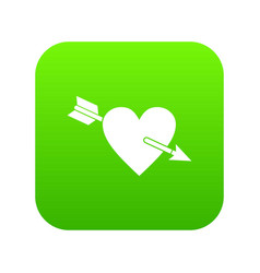 heart with arrow icon digital green vector image
