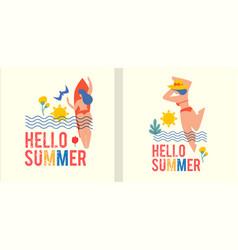 hello summer summer vacation poster template set vector image