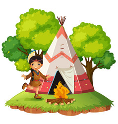 Indian infront of teepee vector