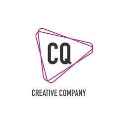 initial letter cq triangle design logo concept vector image