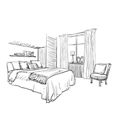 Interior design of the modern bedroom vector image