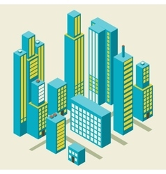 Isometric city center on the map with lots vector