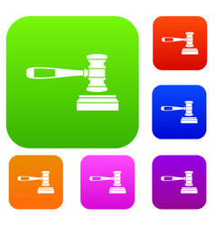 judge gavel set collection vector image