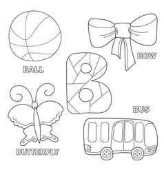 kids alphabet coloring book page with outlined vector image