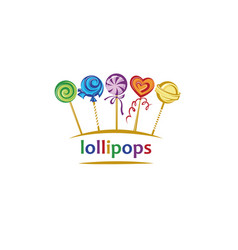lollipops set emblem vector image