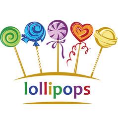 lollipops set emblem vector image