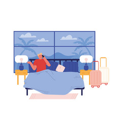 Male character hotel lodger lying in bed with vector