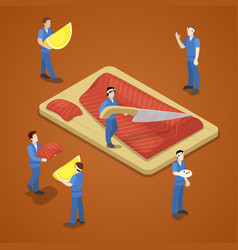 Miniature people slicing salmon fish sea food vector