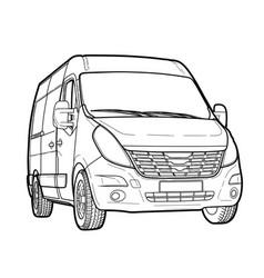 Modern minibus technical draw vector