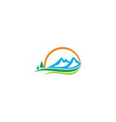 mountain landscape nature beauty logo vector image