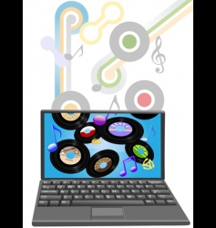 Music to laptop computer vector