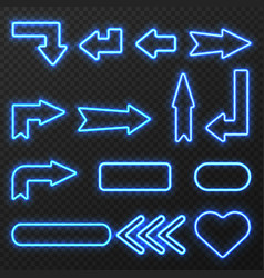 neon sign arrows symbols set vector image