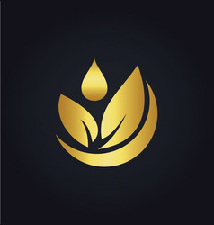 Organic green leaf bio gold logo vector