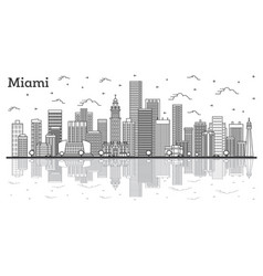 outline miami florida city skyline with modern vector image
