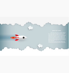 paper art rocket flying over cloud beautiful vector image
