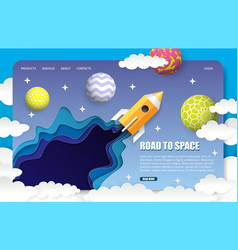 Paper cut space trip landing page website vector