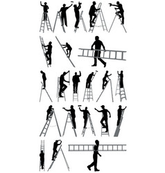 people on ladders vector image