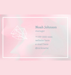 Pink double-sided business card with crystal logo vector