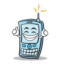Proud face phone character cartoon style vector