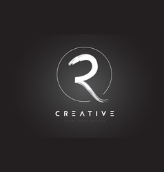 R brush letter logo design artistic handwritten vector