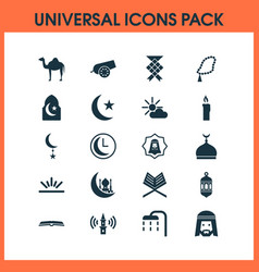 Ramadan icons set with arabian human nachmittag vector