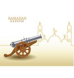 Ramadan kareem with canon and mosque shape vector