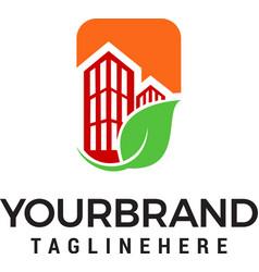 real estate leaf building logo design template vector image