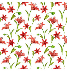 realistic red lily blossom leaves stem set vector image