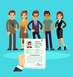 recruitment recruiter choosing candidates with cv vector image