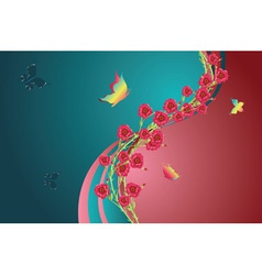 Roses and Butterfly2 vector image