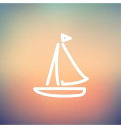 Sailboat thin line icon vector image