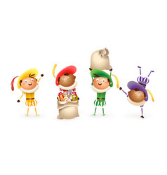 saint nicholas or sinterklaas helpers - happy cute vector image