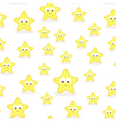 seamless pattern with cartoon starfish vector image