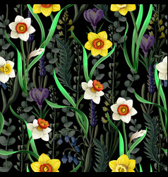 seamless pattern with daffodils and wild flowers vector image
