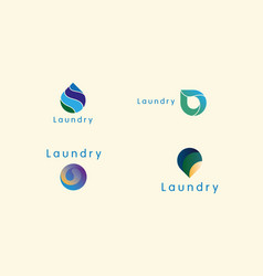 Set of bright logos for laundry or dry cleaning vector