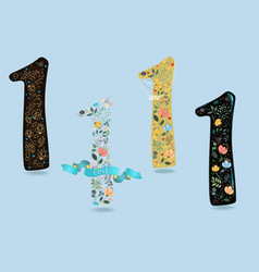Set of numbers one with watercolor flowers vector