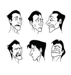 set of sad cartoon man in graphic style vector image