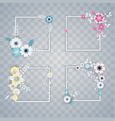 Set of white and colorful paper flowers frames vector