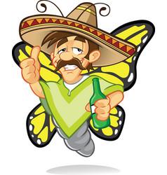 Sombrero drunken butterfly vector