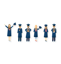 students graduation flat style symbols vector image