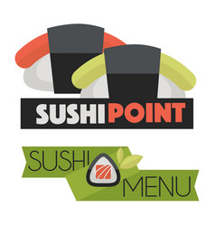 Sushi point menu logo design vector
