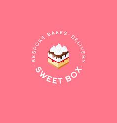 Sweet box logo cake emblem bespoke bakes cafe vector