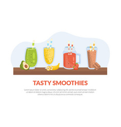 tasty smoothies banner template with nutritious vector image
