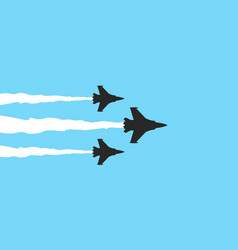 three military fighters symbols on blue background vector image